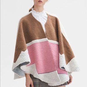 Maje Color Block Premium Wool Poncho